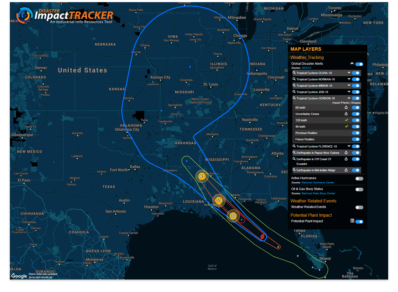 Disaster Impact Tracker - Tropical Storm Gordon