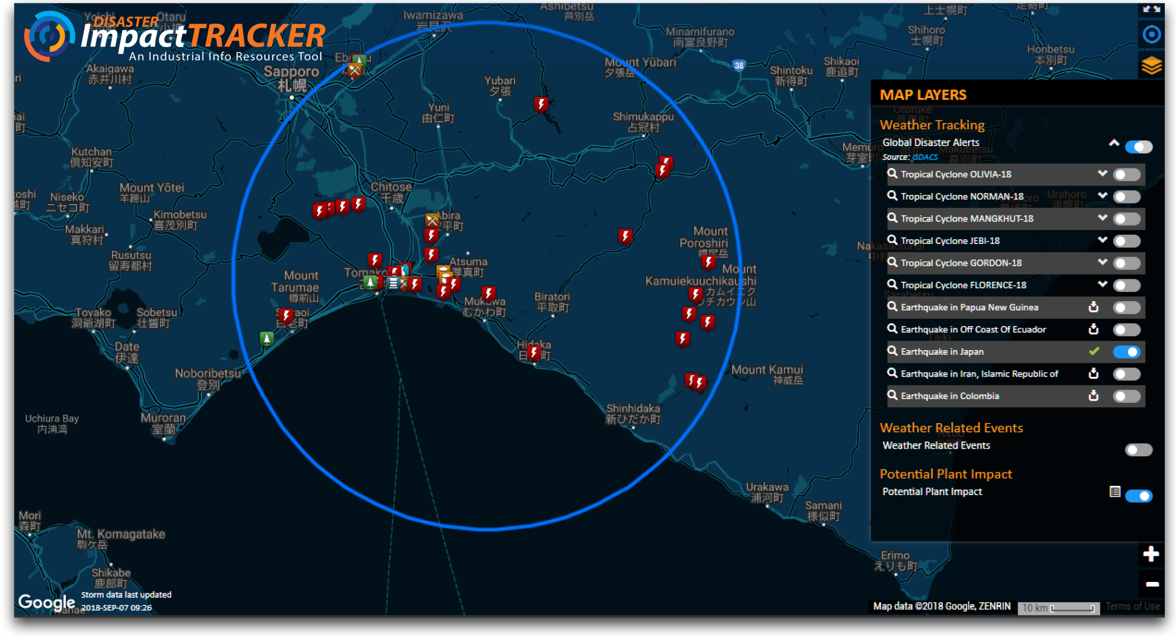 Disaster Impact Tracker - Hokkaido Island of Japan Earthquake